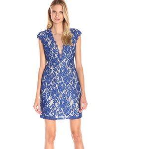• Aidan Mattox • Lace Mini Dress V Neck 6 Blue